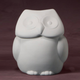 Hoot Owl Pot with lid ready to be painted with Ceramic paint