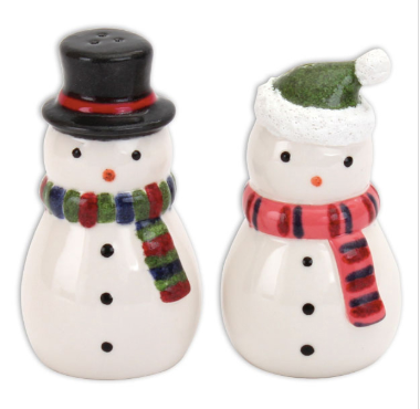Pottery - Mr & Mrs Snowman Salt & Pepper Set