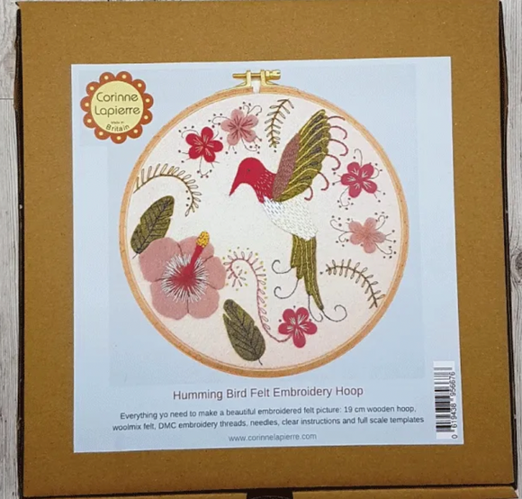 Felt Applique Embroidery Kit with Hoop - Hummingbird