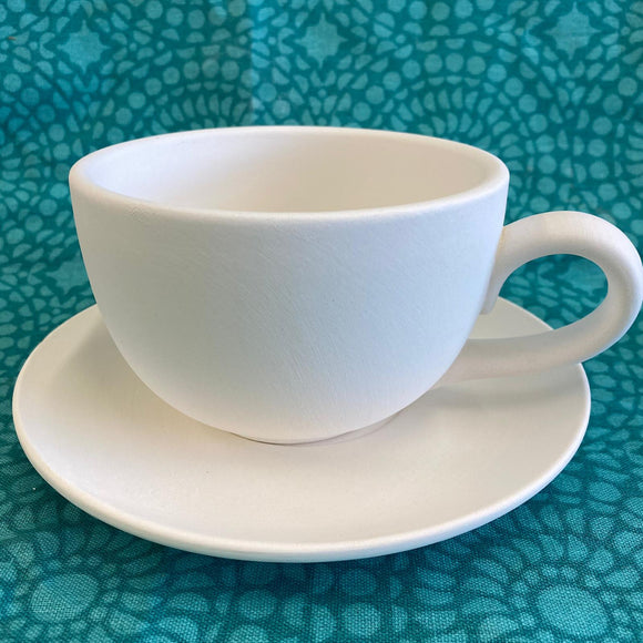 Latte Large Cup and Saucer ready to paint from Dixie Dot Crafts