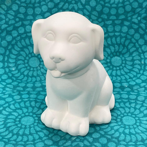 Puppy money box ready to paint