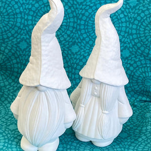 Large Mr and Mrs Gnome Gonk for garden, blank pottery ready to paint