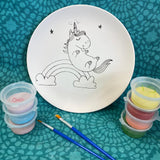 Unicorn and Rainbows Colouring In Pre Printed Pottery painting kit