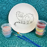 Dragon, gonks, Colouring In Pre Printed Pottery painting kit