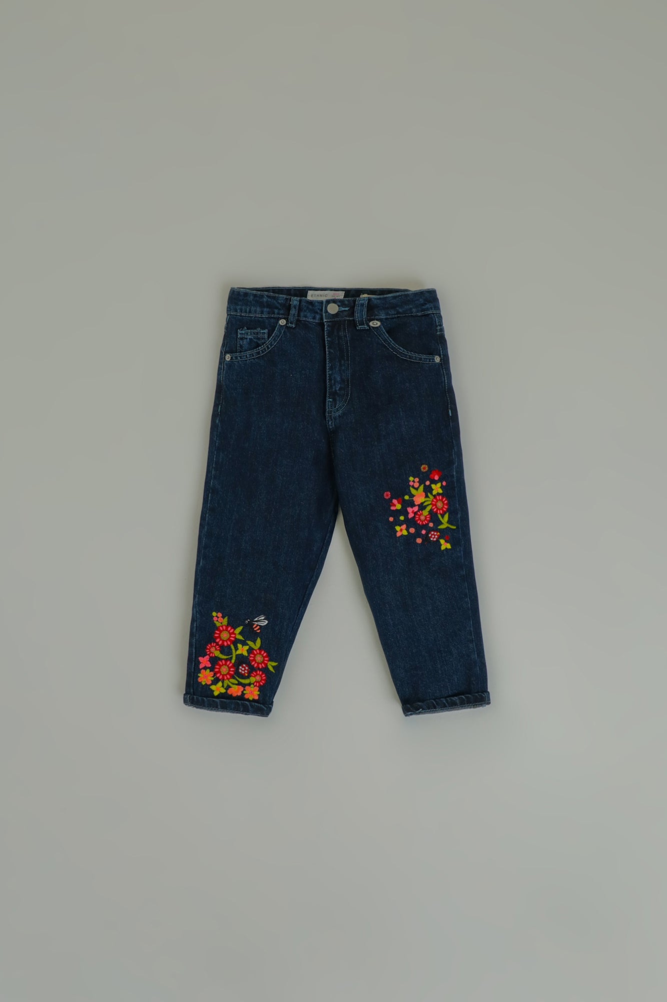 EMBROIDERED MOM FIT JEANS (GBF203093) - Ethnic by Outfitters