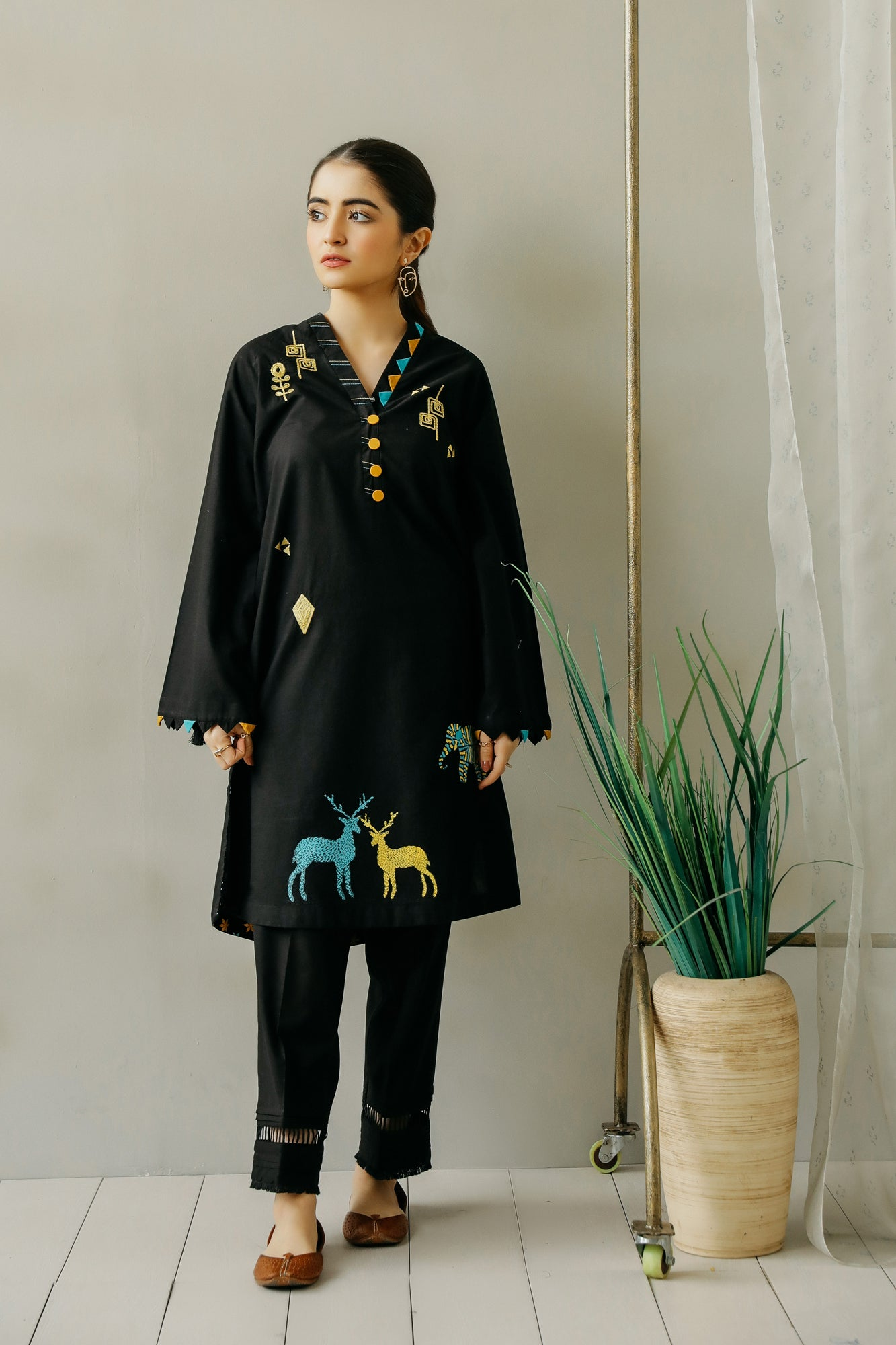 EMBROIDERED SHIRT (WTC111076) - Ethnic by Outfitters