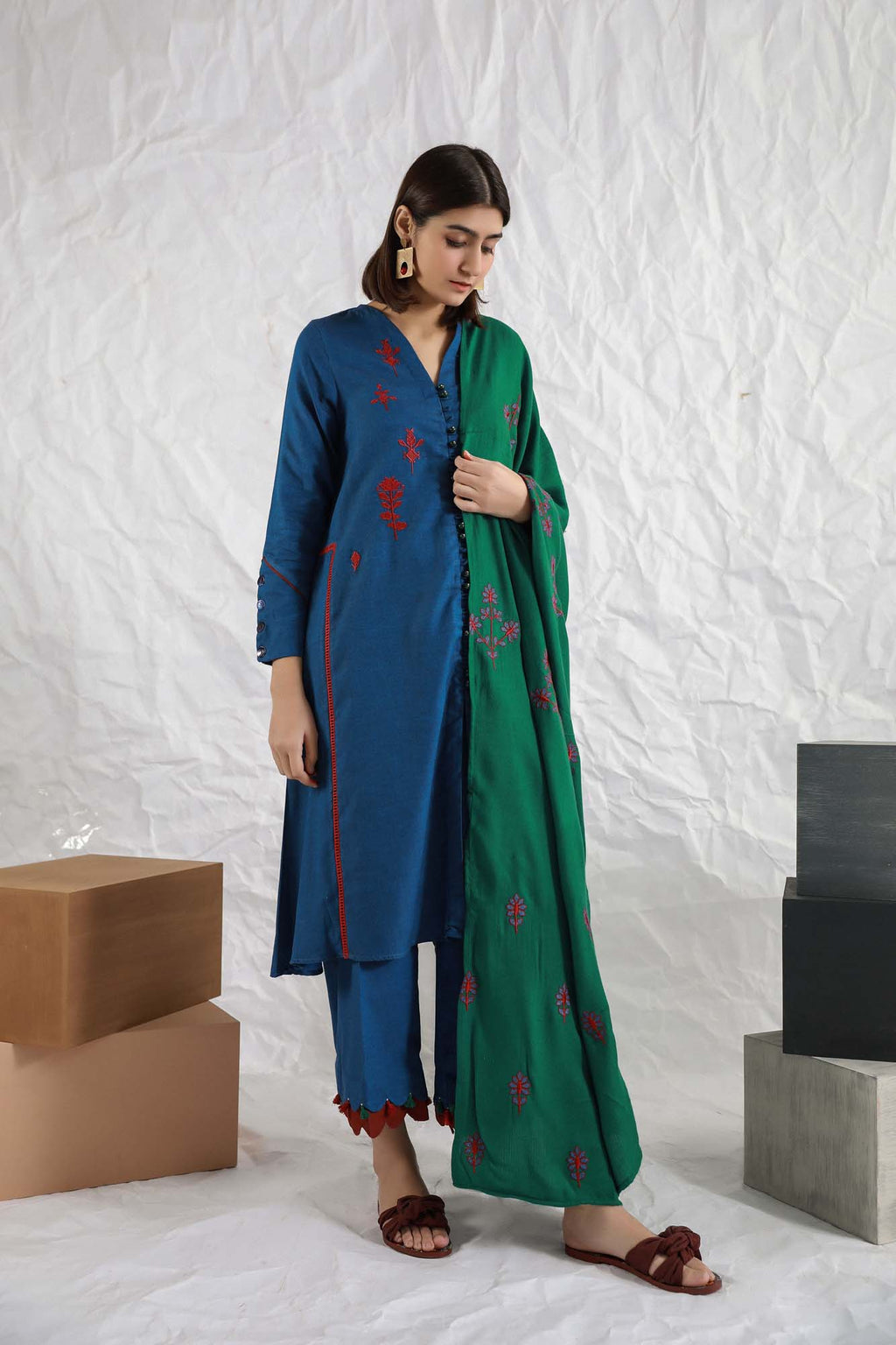Casual Suits (Shirt + Trouser+ Shawl) - Ethnic by Outfitters