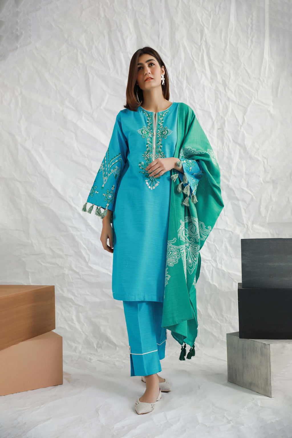 Casual Suits (Shirt + Trouser + Dupatta) - Ethnic by Outfitters