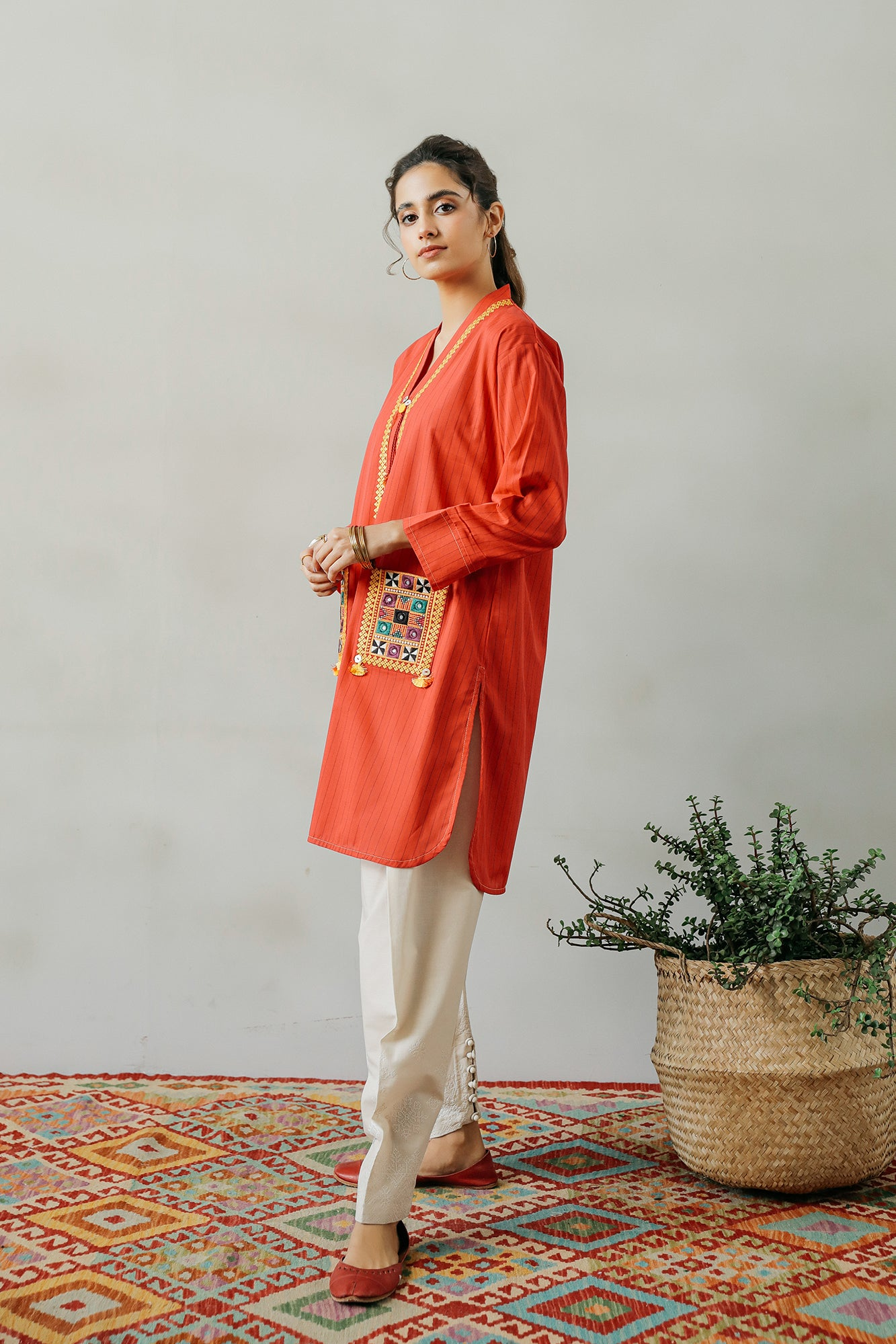 EMBROIDERED SHIRT (WTP111686) - Ethnic by Outfitters