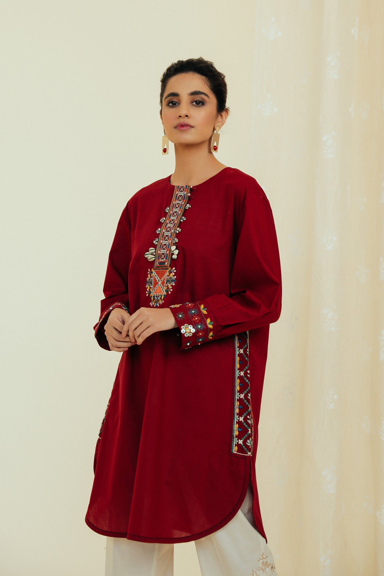 EMBROIDERED SHIRT (WTP111710) - Ethnic by Outfitters