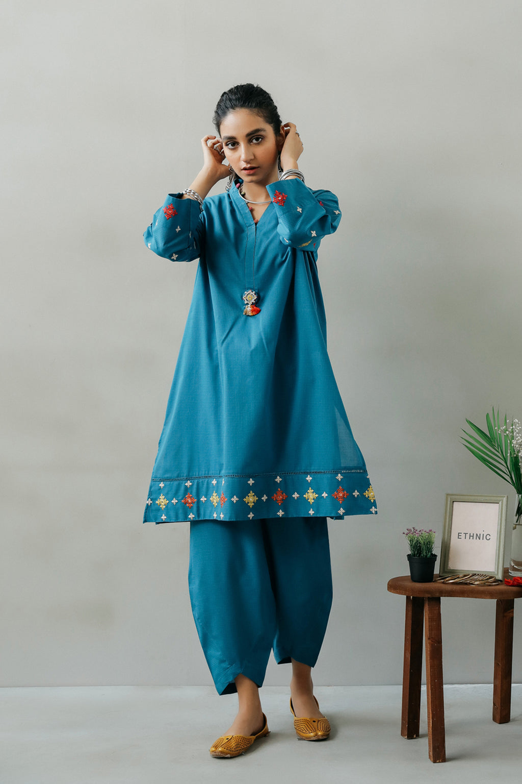 EMBROIDERED SUIT (WTR111380) - Ethnic by Outfitters