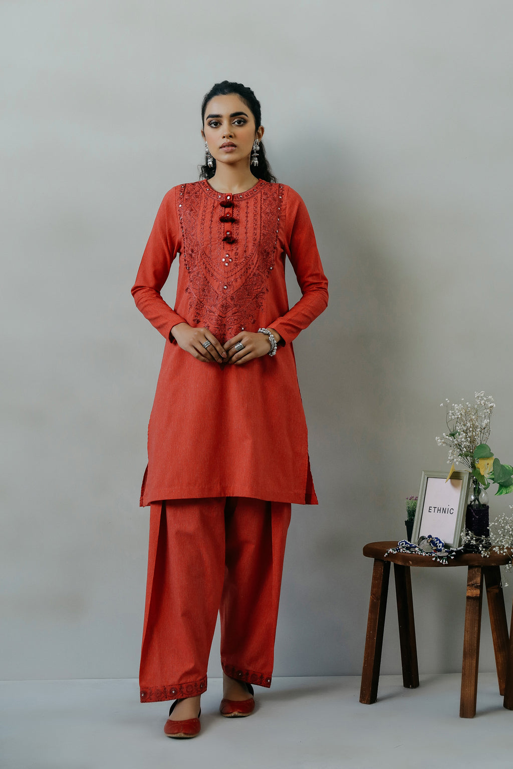 EMBROIDERED SUIT (WTR111390) - Ethnic by Outfitters