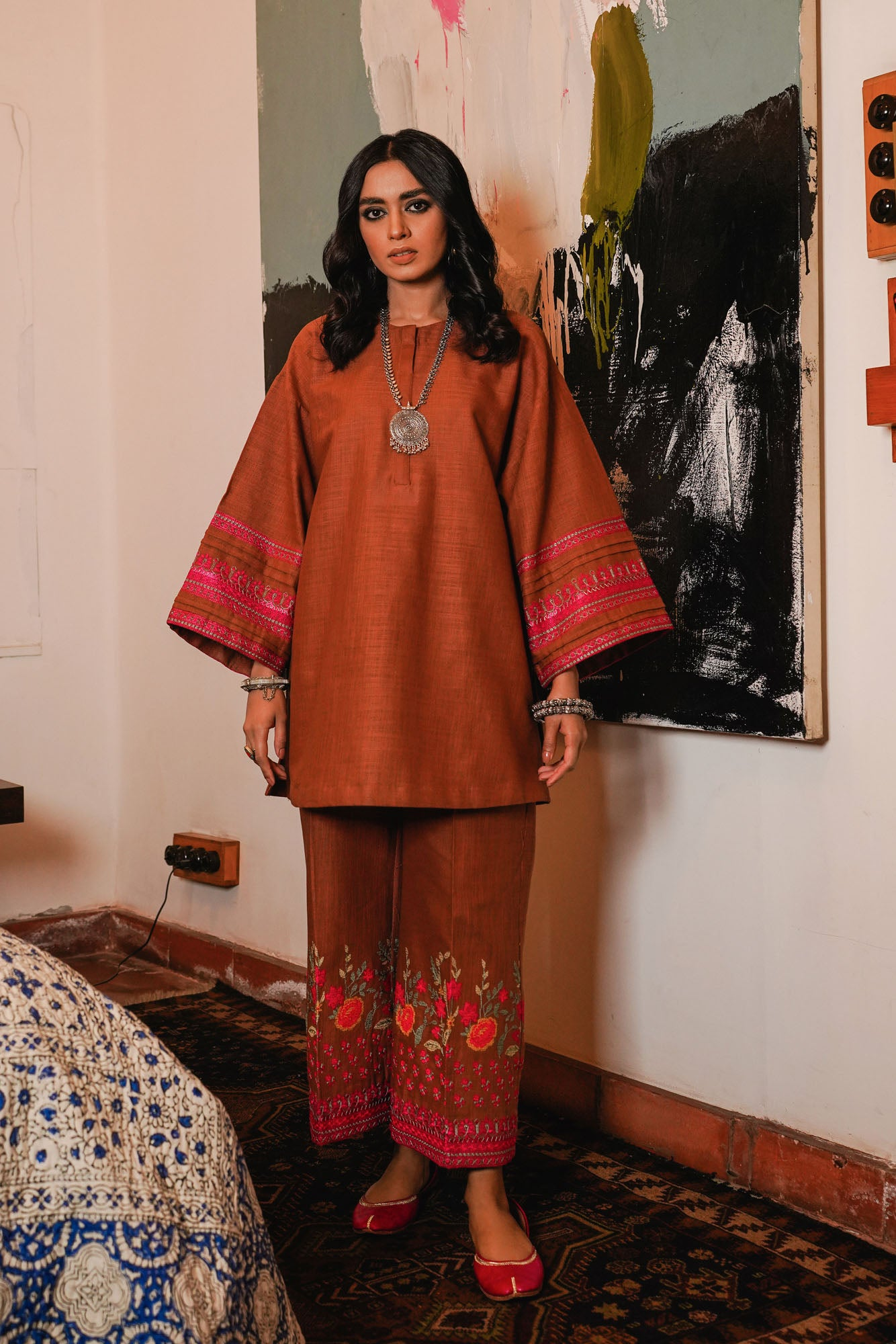 EMBROIDERED SUIT (WTR401417) - Ethnic by Outfitters