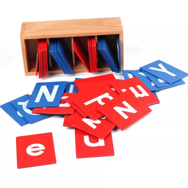 Wooden Alphabet Sand Paper Boards ( Lower and Capital Case with Wooden Box)