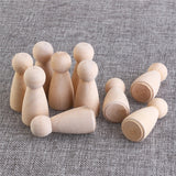 Unpainted 10 Pieces 6cm Wooden Peg Girls  Craft DIY Toys