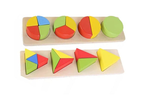 Wooden Math Fraction Puzzle - 2 Sets ( Circle and Triangle)
