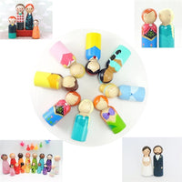 Family Set of 7 Unpainted  Wooden Peg D.I.Y  Dolls