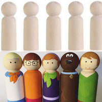 Unpainted  5 Pieces Wooden D.I.Y.  Boy Peg Dolls (10cm )