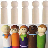 Unpainted  5 Pieces Wooden D.I.Y.  Boy Pegs Dolls (10cm )