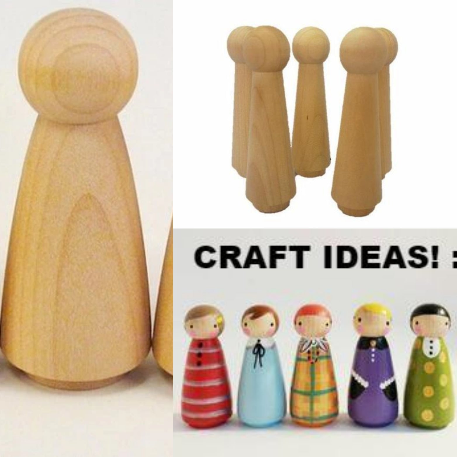 5 Pieces 10cm Blank Wooden Peg (Girl)