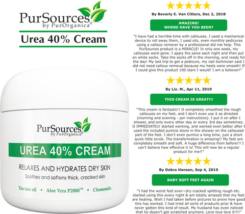 PurSources Urea 40% Foot Cream + Pumice Stone - Best Callus Remover - Moisturizes & Rehydrates Thick, Cracked, Rough, Dead & Dry Skin - For Feet, Elbows, Heels and Hands - Intensive Moisturizes - 4 oz