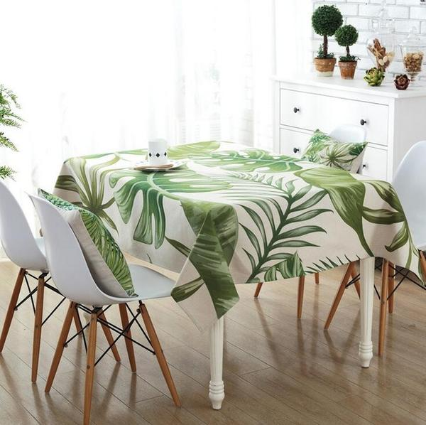 ... White Tablecloth Printed Green Leaf Pattern ...