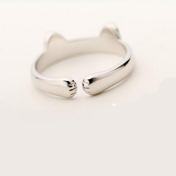 Silver Plated Cat Ear Ring For Cat Lovers Jewelry - Fashion and Style777