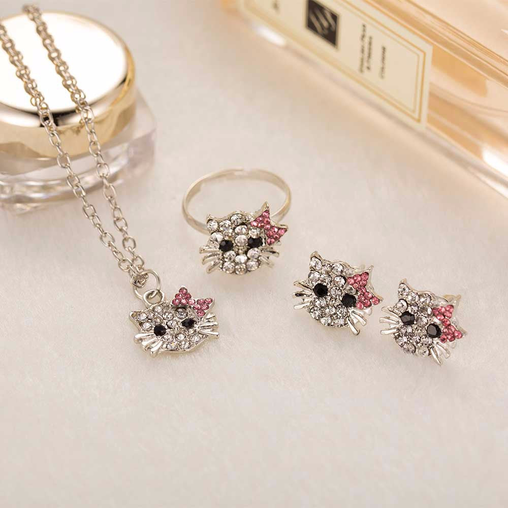 Rhinestone Hello Kitty Earrings, Ring and Necklace Jewelry - Fashion and Style777