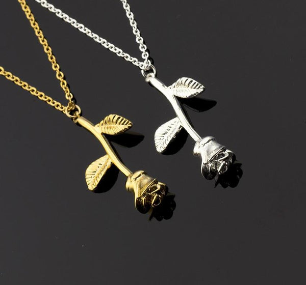 Rose Pendant Necklace in Gold, Rose Gold and in Silver Free + Just Pay Shipping - Fashion and Style777