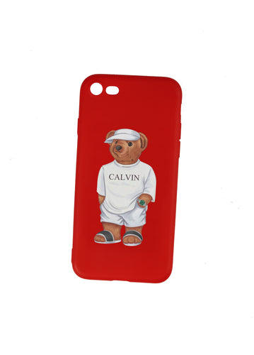 Calvin The Bear - Red Phone Case