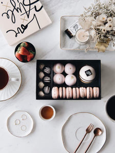 A Vanity Affair - Artisan Pastry Box, Macaron, Profiteroles, Petit Gateau, Eclair, Valentine's chocolate, Truffle, Chocolate, Little Black Pastry Box
