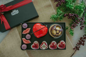 A Cupid's Tale - Artisan Pastry Box, Macaron, Profiteroles, Petit Gateau, Eclair, Valentine's chocolate, Truffle, Chocolate, Little Black Pastry Box
