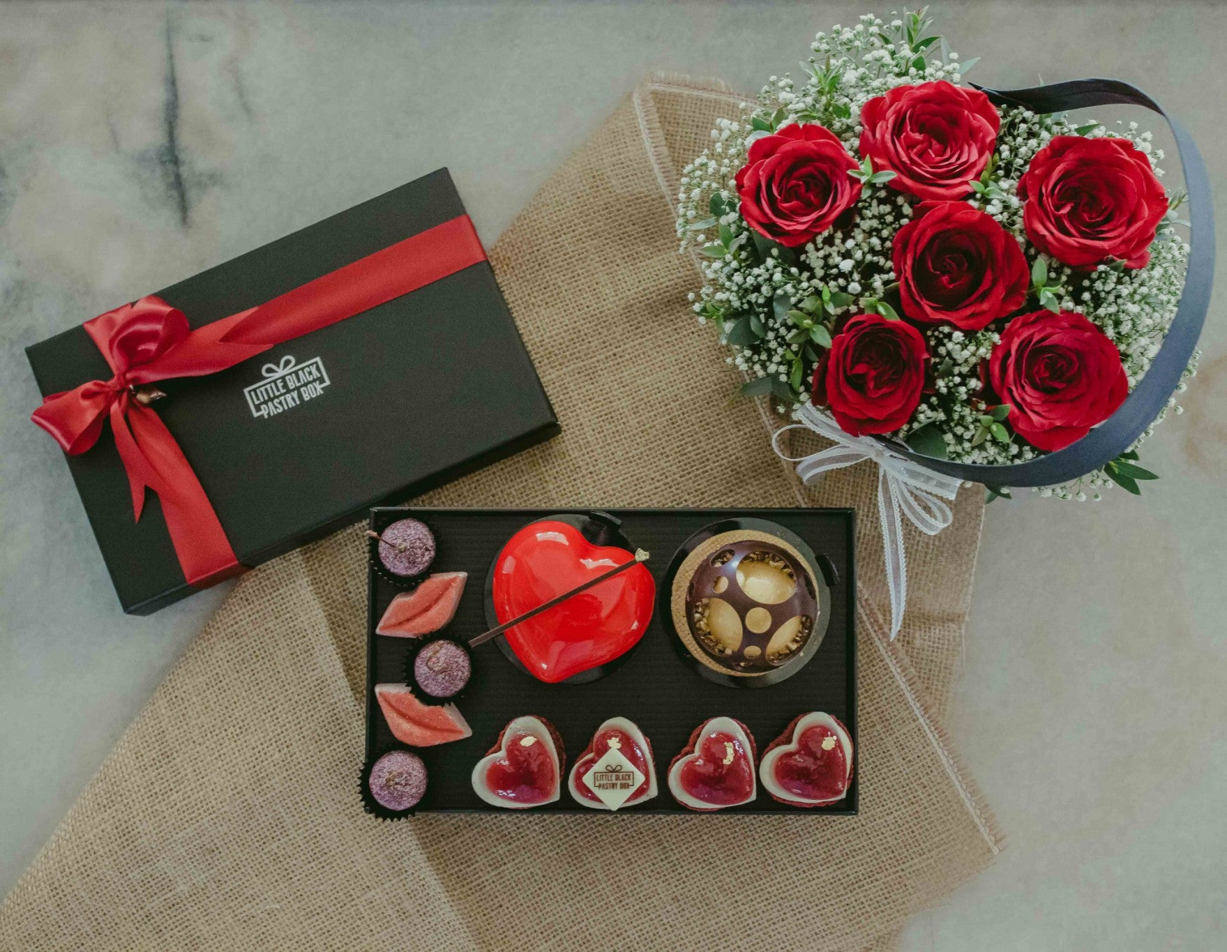 The Great Bundle - Artisan Pastry Box, Macaron, Profiteroles, Petit Gateau, Eclair, Valentine's chocolate, Truffle, Chocolate, Little Black Pastry Box