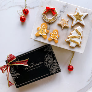 A Sparkly Christmas - Artisan Pastry Box, Macaron, Profiteroles, Petit Gateau, Eclair, Valentine's chocolate, Truffle, Chocolate, Little Black Pastry Box