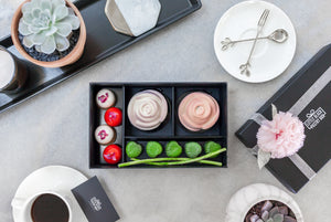 Mother's Day Special - Artisan Pastry Box, Macaron, Profiteroles, Petit Gateau, Eclair, Valentine's chocolate, Truffle, Chocolate, Little Black Pastry Box