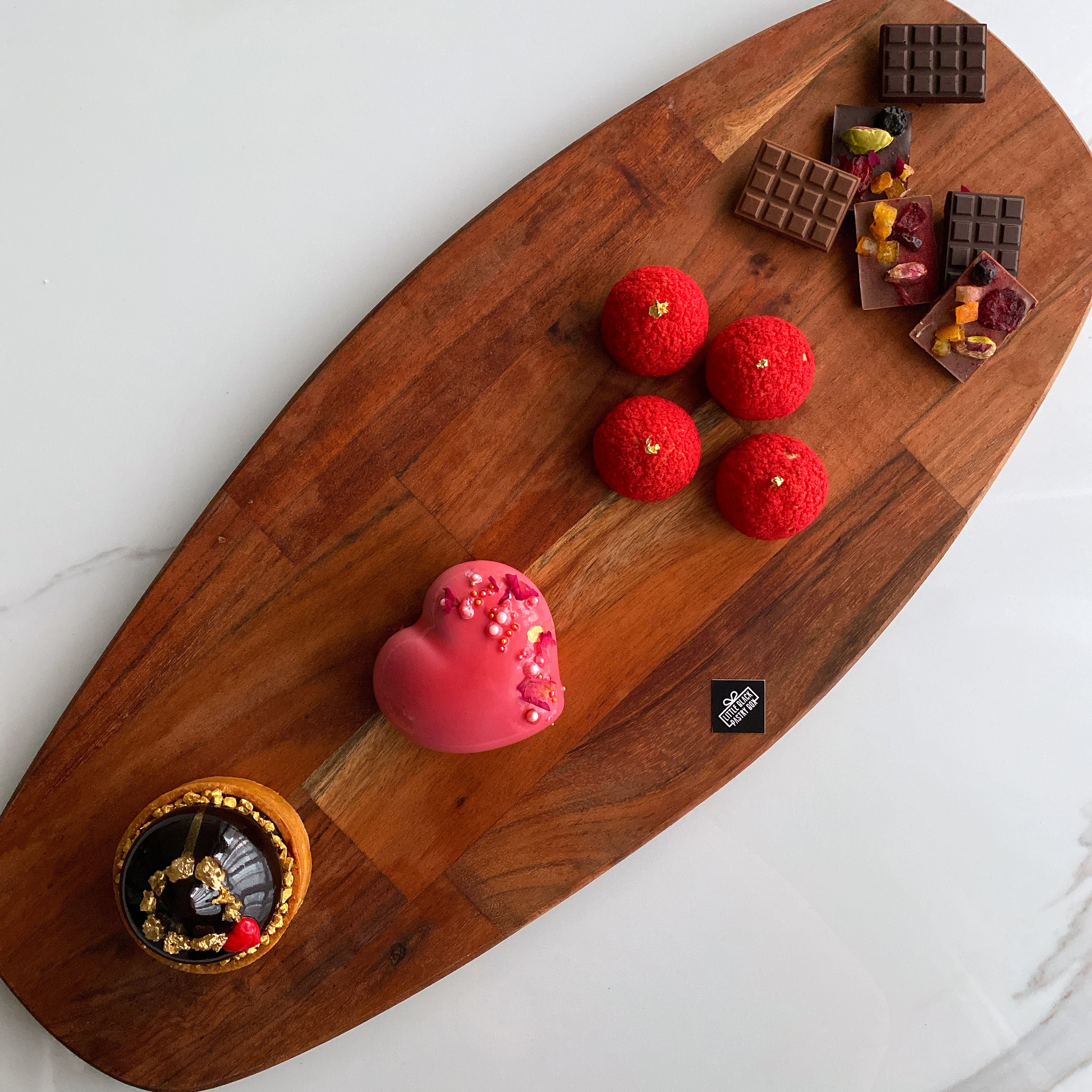 The Flamboyant Flair - Artisan Pastry Box, Macaron, Profiteroles, Petit Gateau, Eclair, Valentine's chocolate, Truffle, Chocolate, Little Black Pastry Box