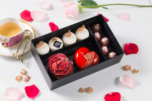 The Ruby Obsession - Artisan Pastry Box, Macaron, Profiteroles, Petit Gateau, Eclair, Valentine's chocolate, Truffle, Chocolate, Little Black Pastry Box