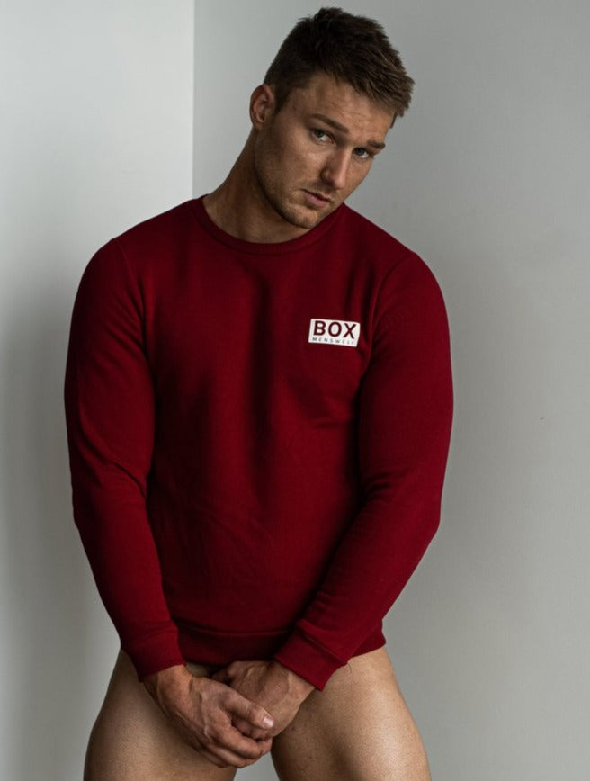Mens Crew Neck Jumper - Dark Red