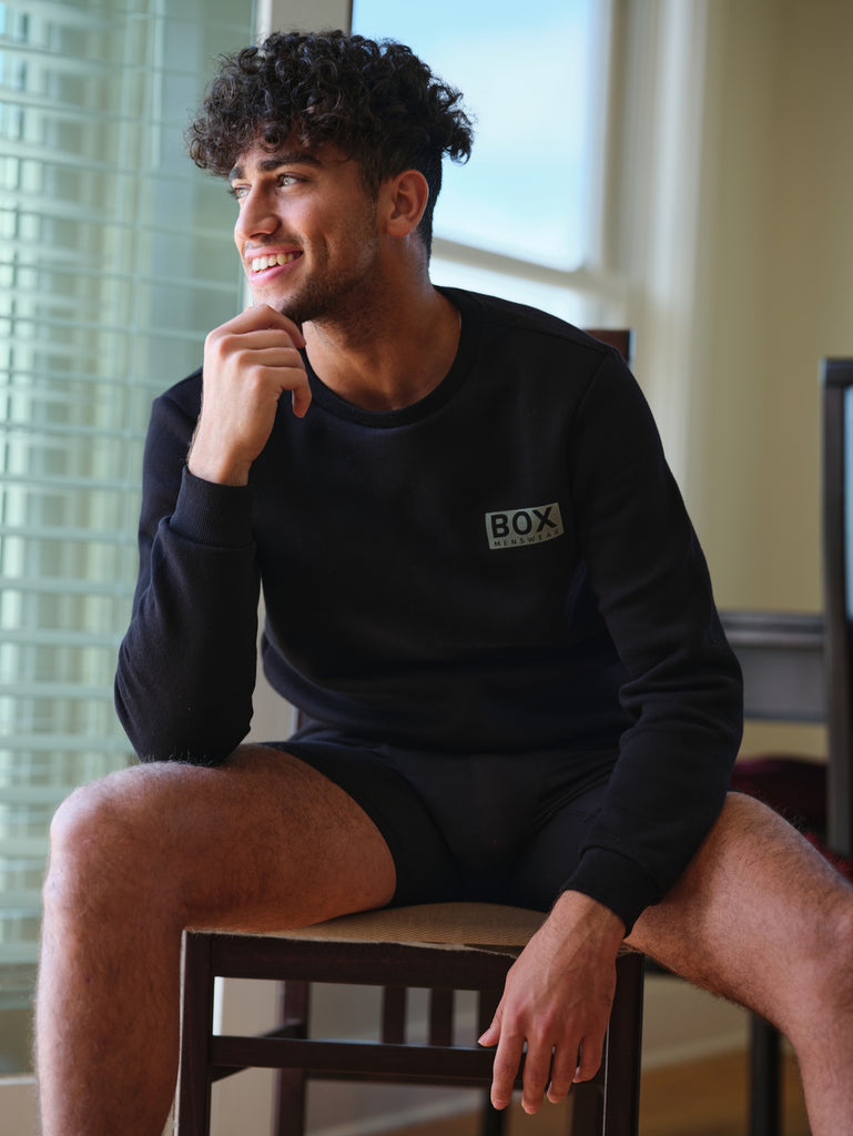 Mens Crew Neck Jumper - Black