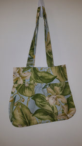 Blue and Green Floral Mid-Sized Handbag