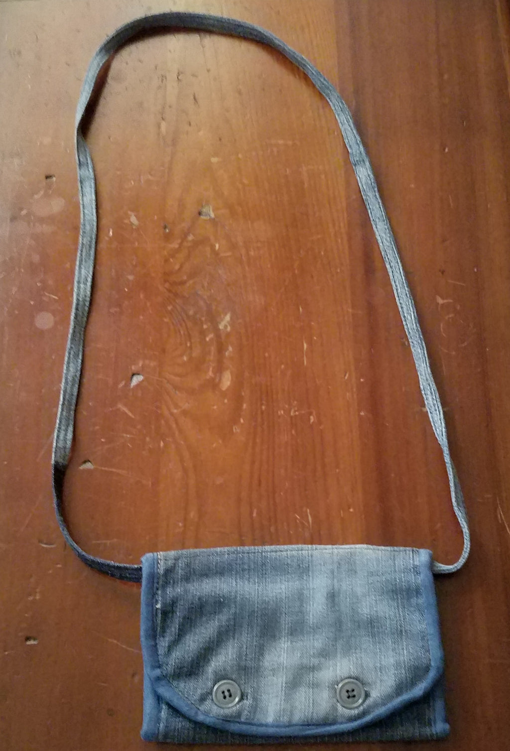 Recycled Jeans-Cross Body Travel Wallet