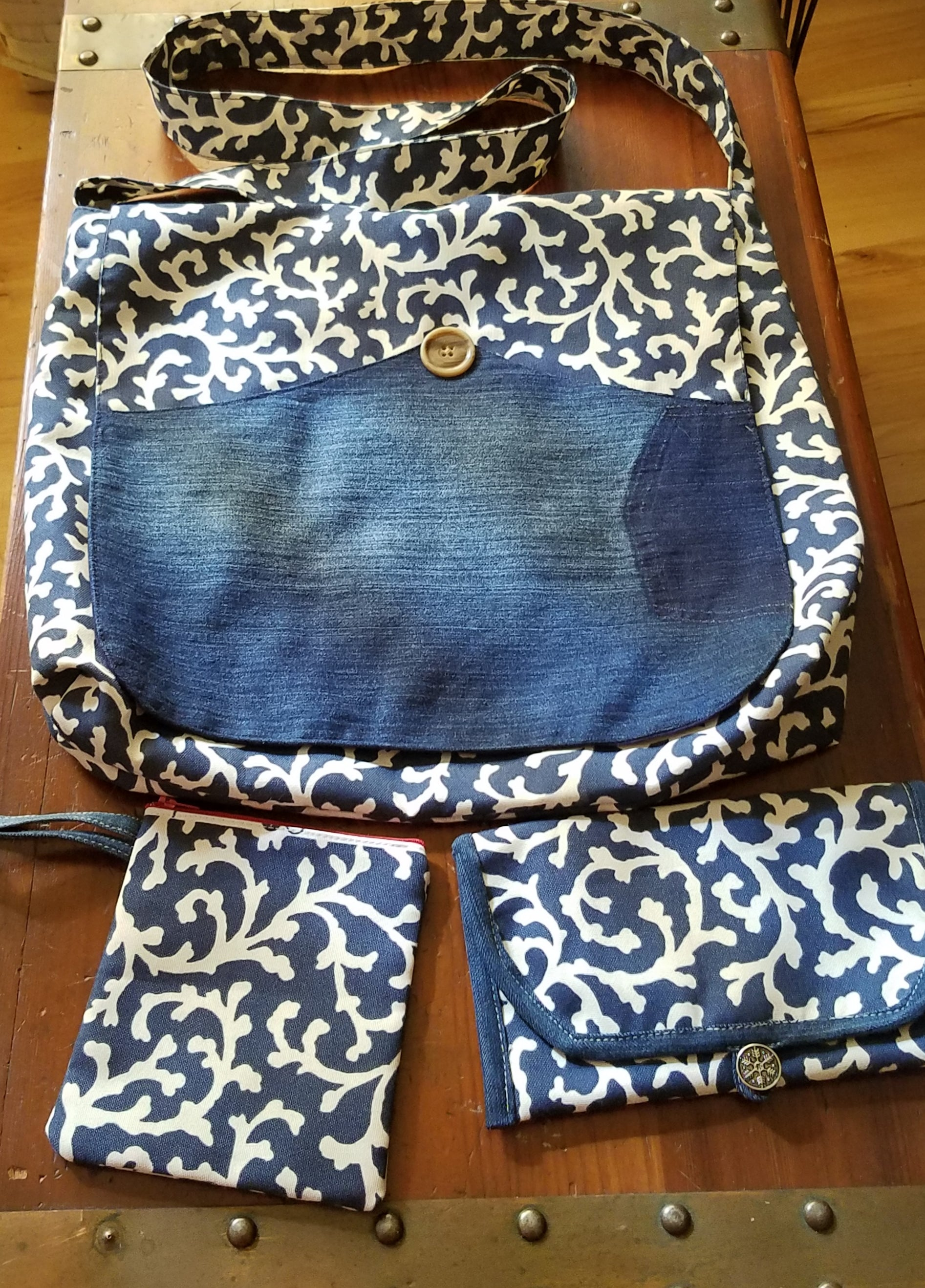 Recycled Jeans 3 Piece Hand Bag Set