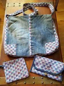 Recycled Jeans 3 Piece Handbag Set
