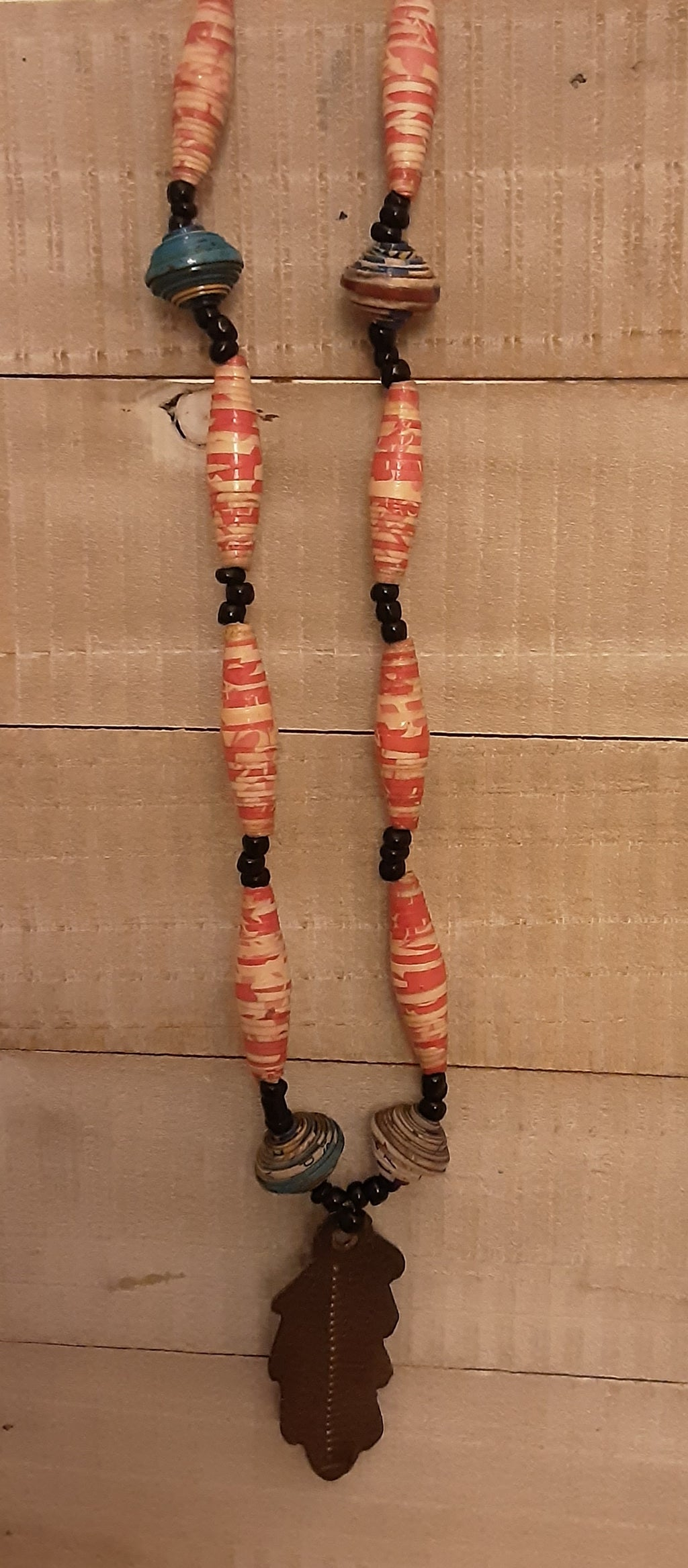 Necklace Set- Paper bead necklace set with metal oil drum accents