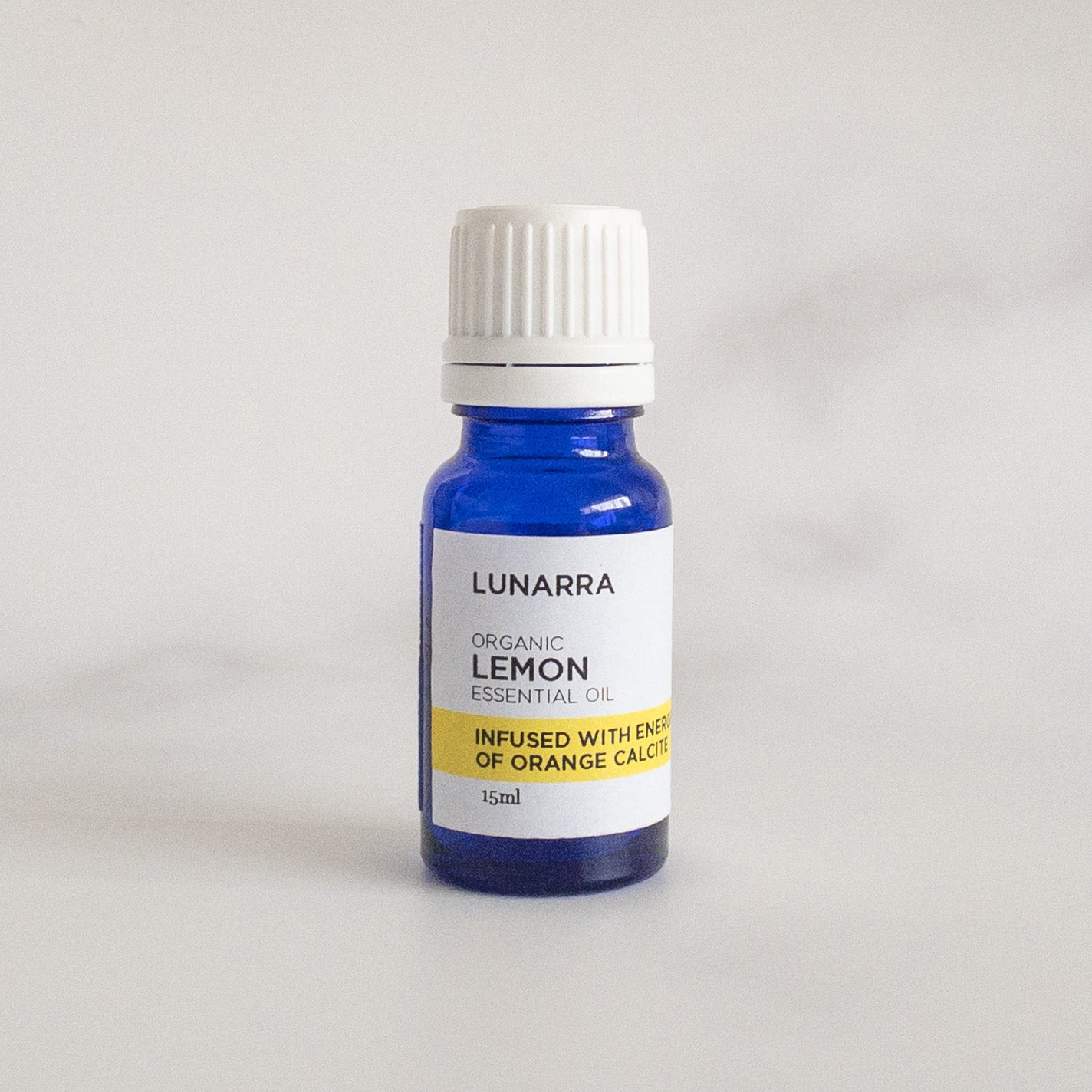Organic Lemon Essential Oil Infused with the Energies of Orange Calcite 15ml