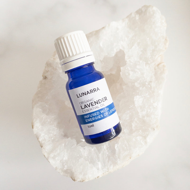 Organic Bulgarian Lavender Essential Oil Infused with the Energies of Lepidolite 15ml