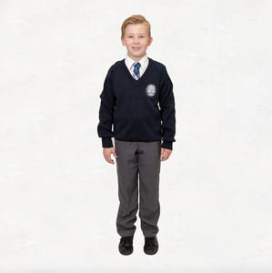 Navy Woollen V-neck Jumper (Primary and High School)