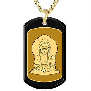 Buddha with Background Inside a Frame - Gold Image on Black Onyx Gemston
