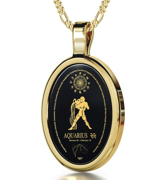 Aquarius - Gold imprint on black Onyx gemstone