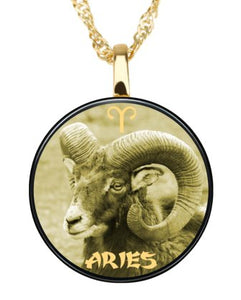 Aries - Gold imprint on black Onyx Gemstone Pendents